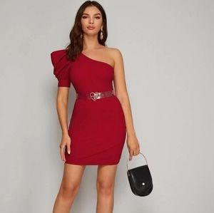 Dresses & Skirts - One Shoulder Puff Sleeve Wrap Dress